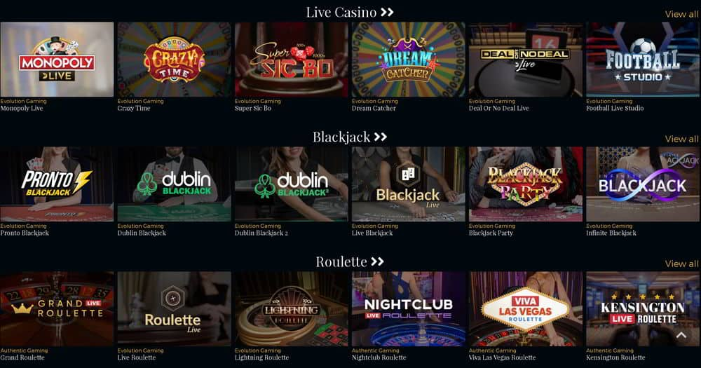 Online casino game catagories.