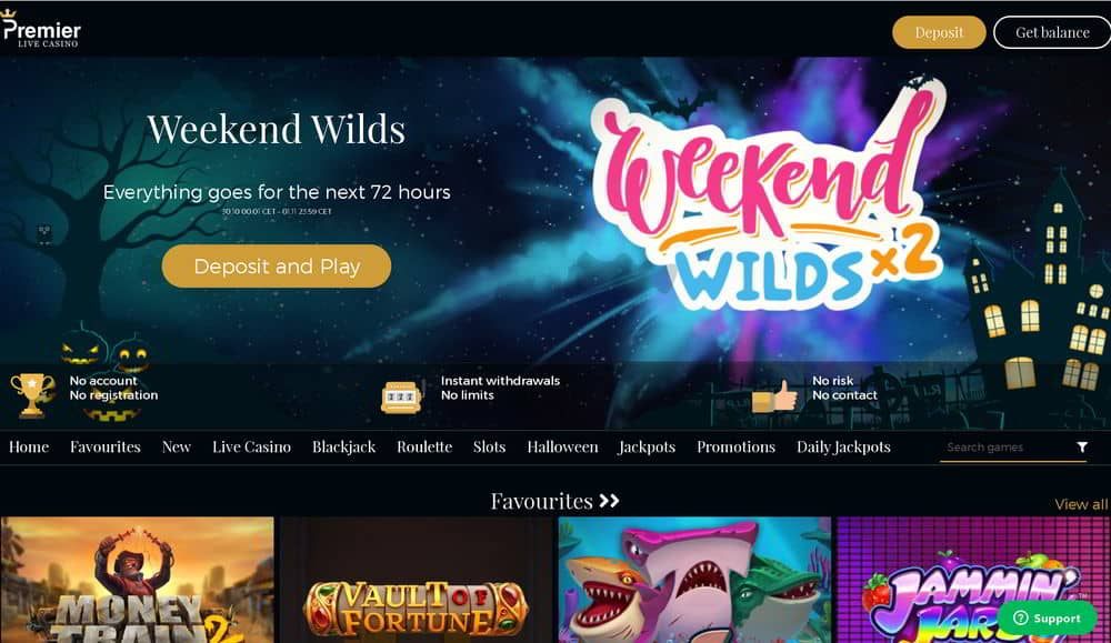 Online casino games listed at Premier Live Casino site.