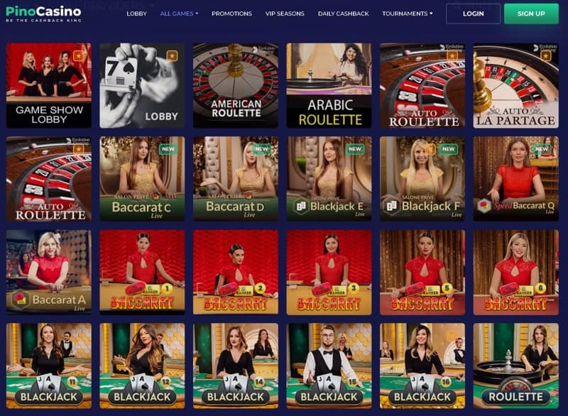 Live casino section at the pay and play Pino casino.